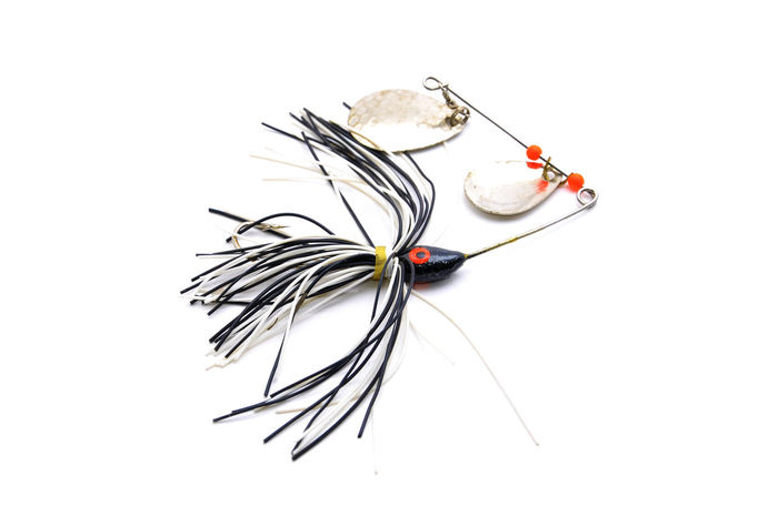 A Spinner Spoon For Fishing Angler Angling Bait Bass Close-up Decoration Fish Fishing Lines Lure Sound Spinner Spoon Tackle Box White Background Wobble