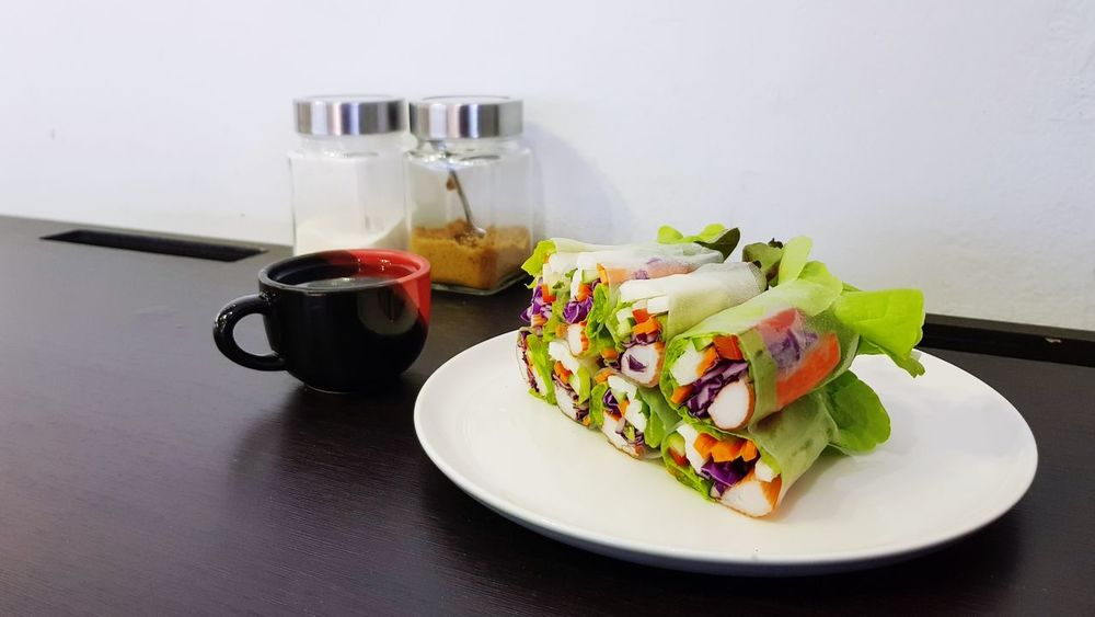 Healthy dish with fresh salad roll Food And Drink Food Plate Indoors  No People Ready-to-eat Sweet Food Freshness Healthy Eating Close-up Day Crab Stick Kanikama Salad Rolls Spring Roll Carrot Tea Hydroponic Vegetables Healthy Fresh Food Ingredient Copy Space Salad