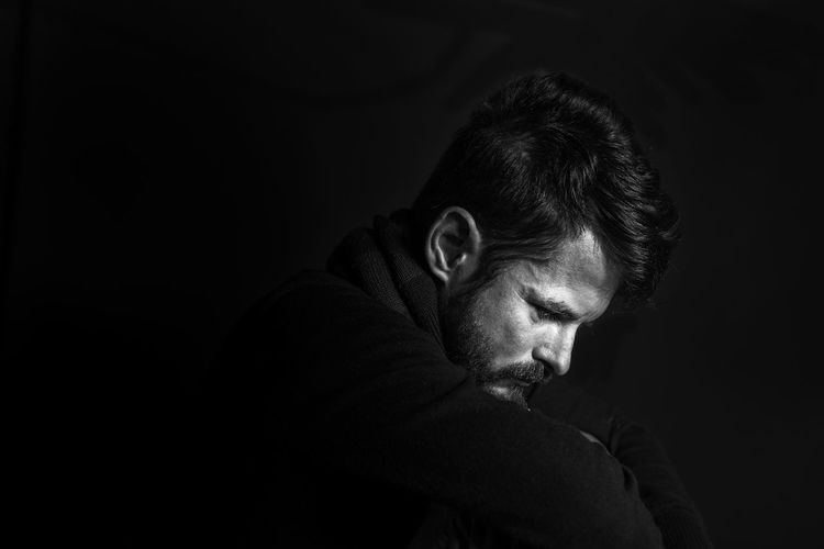 Black Background Man PortraitPhotography Portraits Adult Beard Black And White Photography Black Background Blackandwhite Blackandwhite Photography Contemplation Dark Depression - Sadness Facial Hair Headshot Looking Manportrait Men One Person Portrait Portrait Photography Profile View Sadness Selfportrait Studio Shot