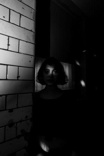 Portrait Of Girl In Darkroom