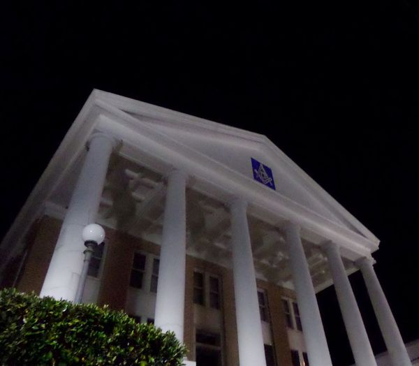 Masonic Temple Architecture Building Exterior Built Structure Low Angle View No People Night Outdoors Pediment Sky Free Masons