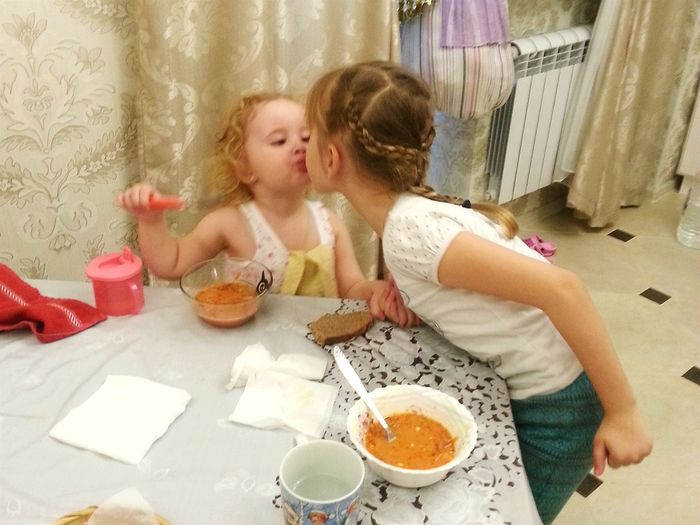 My daughter and my goddaughter (elder). I love them both very much, almost the same. And they also love one other. Borsch Sisters Julia  Alexandra My Daughters Kinder ChildrenPortrait My Loved Ones Color Portrait Kitchen Kiss My Favorite Girls Portrait Kinder Children Child борщ My Kitties