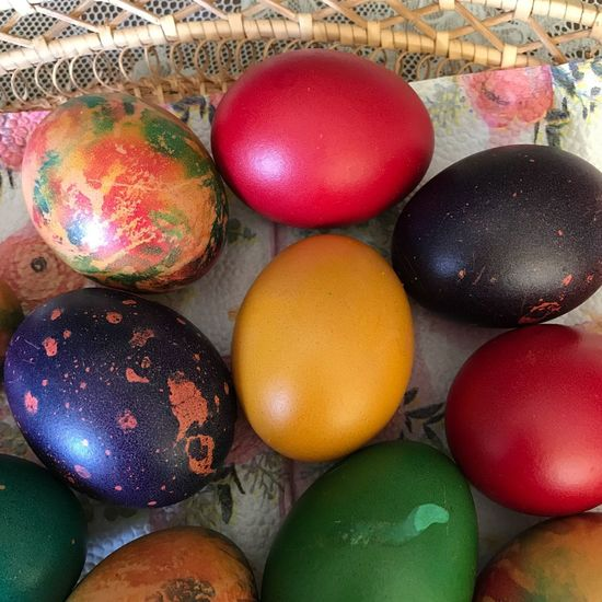 Multi Colored Easter Easter Egg Celebration Egg Still Life Holiday Food No People Indoors  Close-up Variation Decoration High Angle View Food And Drink Large Group Of Objects