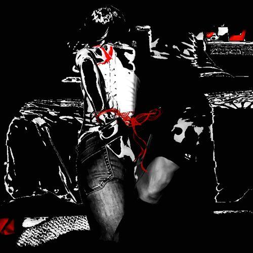 Fun & Games Black & White Splash Of Red Pheonix  Tattoo Digital Art Multimedia Portraits
