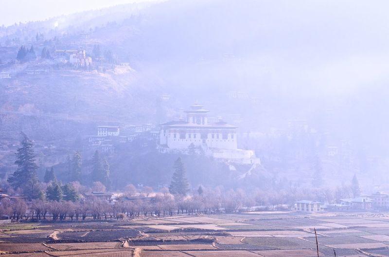Paro Dzong through the morning haze. Bhutan Paro Paro Dzong Of Bhutan Misty Valley Misty Mountains  Misty Morning Misty Mist Dzong Blue Color Mountain Temple