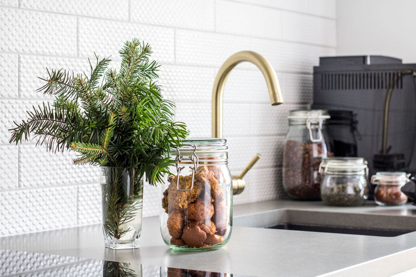 Indoors  Kitchen Sink No People Domestic Kitchen Water Close-up Day Coffee Machine Christmas Cookies White Kitchen Home Interior Eclectic Nordic Scandinavian Eterstudio Interordesign Architecture Blackandwhite Christmas Tree Traveling Home For The Holidays