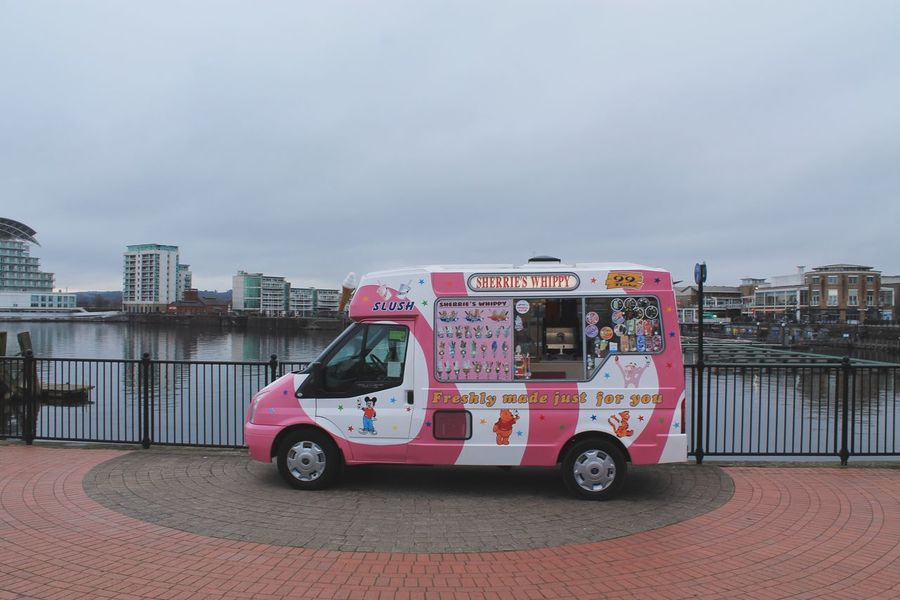 Sherrie's Whippy Childhood Memories Unusual Cardiff Bay Pink Ice Cream Van Ice Cream Transportation Mode Of Transport Land Vehicle Built Structure Sky Architecture Day Outdoors City No People Colour Your Horizn Mobility In Mega Cities Press For Progress