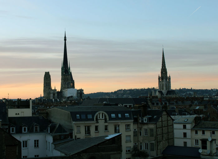 Rouen 3 EyeEmNewHere Politics And Government City Cityscape Urban Skyline Modern Skyscraper Sunset Place Of Worship Aerial View Business Finance And Industry Clock Tower Moody Sky Bell Tower - Tower Tall - High Romantic Sky Tower