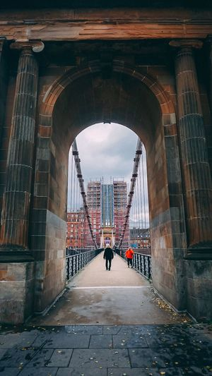 South Portland Street Suspension Bridge Glasgow  Architecture Built Structure Arch Building Exterior Real People Direction The Way Forward City Full Length Day Building Diminishing Perspective People Transportation