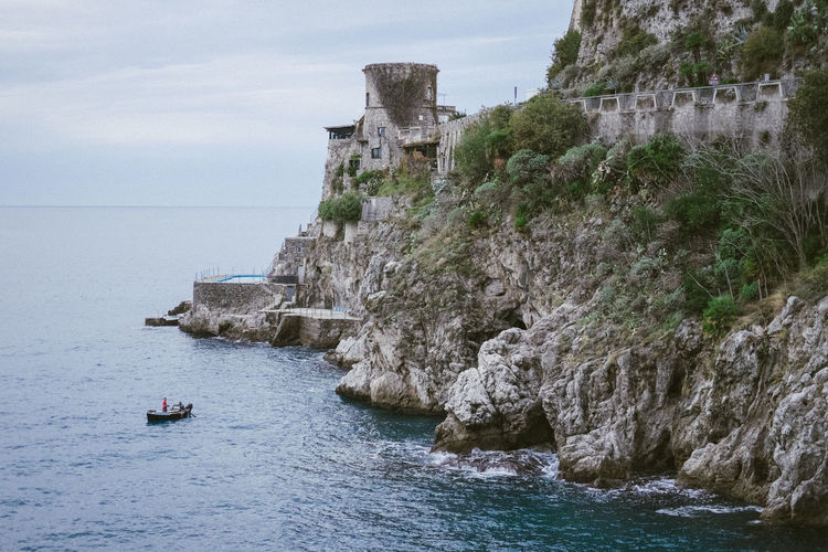 Water Sea Nautical Vessel Nature Sky Travel Scenics - Nature Day Rock Beauty In Nature Waterfront Rock - Object No People Outdoors Cliff Amalfi Coast Southern Italy