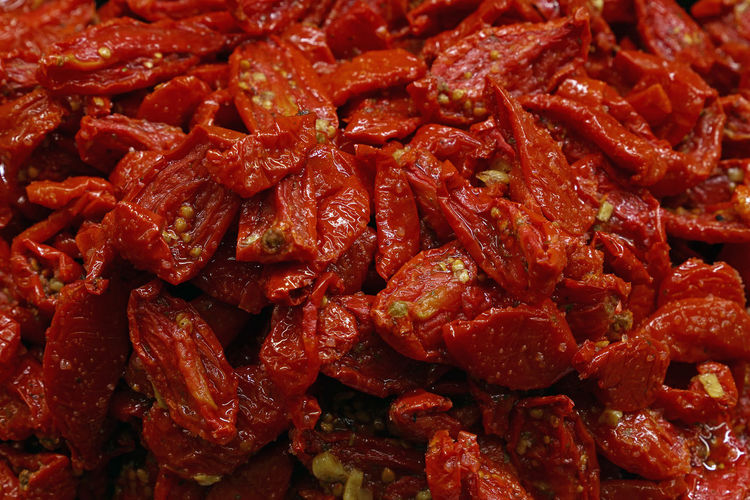 Full frame shot of dried tomatoes for sale in market