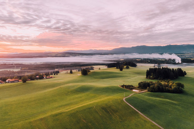 Grass Sky Scenics - Nature Beauty In Nature Sport Tranquil Scene Cloud - Sky Golf Landscape Sunset Activity Plant No People Environment Golf Course Tranquility Water Nature Green Color Outdoors Green - Golf Course Drone  Dronephotography