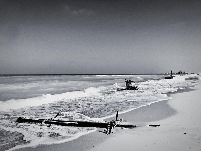 Sea Nature Horizon Over Water Scenics Outdoors Water Beach Pollution Shame Abudhabi Winter Blackandwhite Black And White Black & White EyeEm Best Shots EyeEm Gallery EyeEm Best Edits EyeEmBestPics EyeEm EyeEm Masterclass No People Machinery Industrial Landscapes Industry Black And White Photography The Great Outdoors - 2017 EyeEm Awards