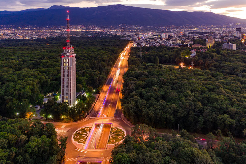TV tower, Sofia Mavic2 Mavic2pro Sofia, Bulgaria Twilight Architecture Building Building Exterior Built Structure Bulgaria City Cityscape High Angle View Illuminated Nature No People Outdoors Park Plant Road Sofia Tourism Tower Travel Travel Destinations Tree