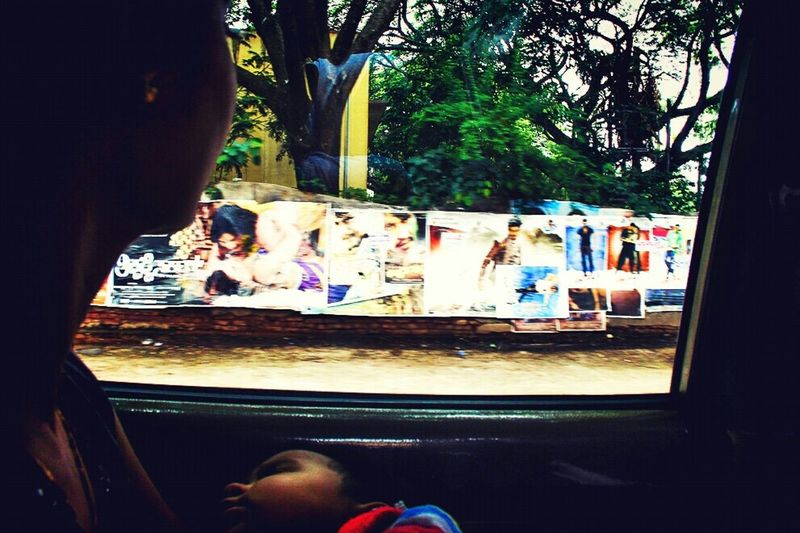 Looking To The Other Side From Car Inside Outside Film Poster Sleepy Kid Streetphotography Road Trip Travel