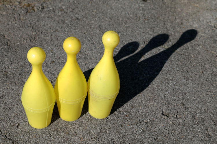 Bowling Bowlling Close-up Day Daydreaming Focus On Foreground Game Gamer Games Green Color Nature No People Outdoors Side By Side Still Life Sunny Toys Toystagram Yellow Beautifully Organized