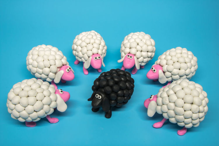 Concept - A circle of white sheep surrounds one black sheep, on a solid blue background. An idea of a unique individual - a black sheep, that is being surrounded and judged by a unified majority. The black sheep represents the odd, the unfitting, and the strange. Suitable for shunning related content. Alcoholic Drink Alone Black Concept Criminal Different Embarassing Expelled Friends Gay Group Hate Isolated Judging Outcast Punishment Reject Shunning The No Believers Society Stranger Unaccepting Unusual Unwanted White