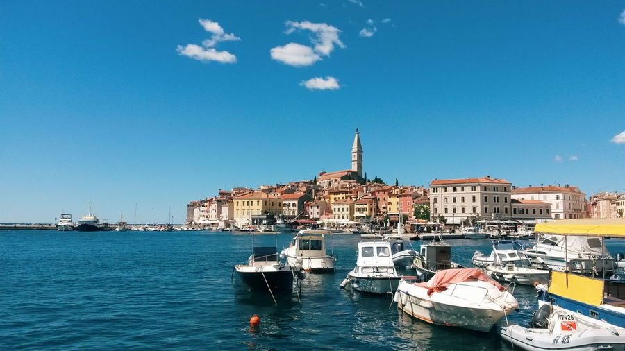 Water City Cityscape Harbor Harbour Old Town Croatia Rovinj Sky Tourboat Water Vehicle Sailing Ship Sailing Boat