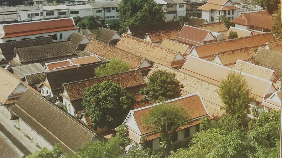 Thai Temple Rooftops PhonePhotography Taking Photos Temple Yellow Viwe City View  Bangkok Thailand.