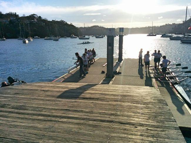 Water Rowing Sun Set People Watching