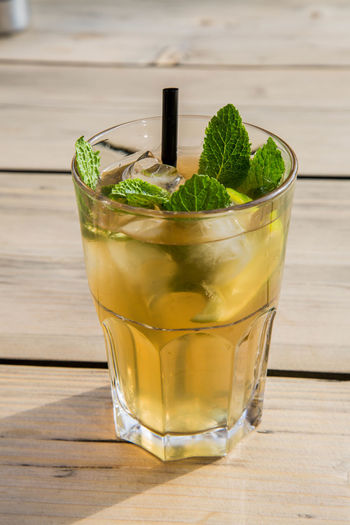 Close-Up Of Iced Long Drink With Mint In Glass