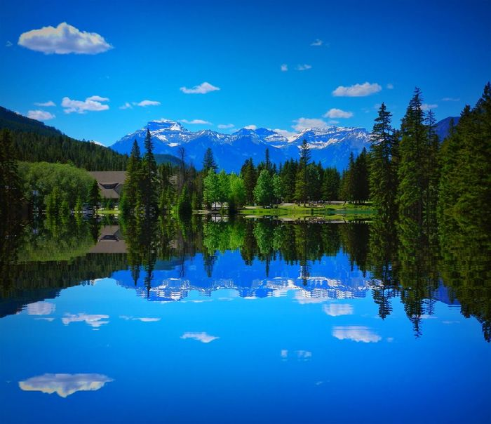 Alberta, Canada Beauty In Nature Blue Canada Cloud - Sky Day Lake Mountain Nature No People Outdoors Reflection Scenics Sky Symmetry Tranquil Scene Tranquility Tree Water Waterfront