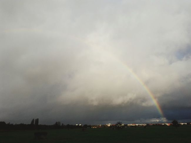 Tempelhofer Feld In Berlin Germany Berlin Photography Urban Urban Landscape Rainbow Double Rainbow Outdoors No People Day Nature Sky Storm Cloud Overcast Lightning Weather Dramatic Sky