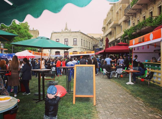 Large Group Of People Market Restaurant Building Exterior Chair City People Outdoors Adult Architecture Food Day Adults Only Bakustreetfoodfestıval AZ Azerbaijan Baku Baku♡♥ Baku City Baku Azerbaijan Streed Food