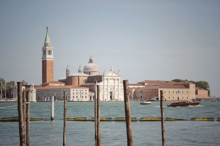 Architecture Blue Boat Church Commercial Dock Day Gondola Harbor History San Michele Sea Sky Tourism Tower Travel Destinations Travelling Urban Skyline Venice Venice, Italy Water Waterfront BYOPaper! An Eye For Travel