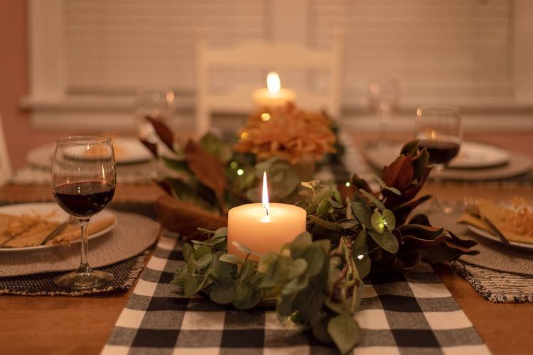 Tea light candles on table