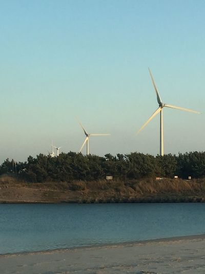 Alternative Energy Beach Beauty In Nature Clear Sky Day Environmental Conservation Fuel And Power Generation Industrial Windmill Nature No People Outdoors Renewable Energy Rural Scene Scenics Sea Sky Traditional Windmill Tranquil Scene Tranquility Water Wind Power Wind Turbine Windmill