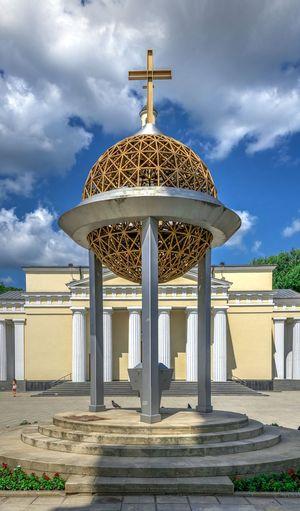 Gazebo in temple against sky