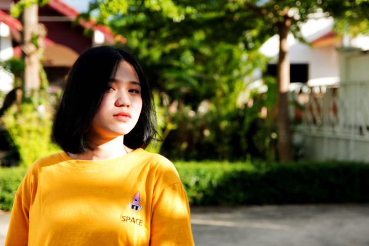 Asian girl Beautiful Woman Black Hair Casual Clothing Focus On Foreground Front View Hair Headshot One Person Women Young Adult