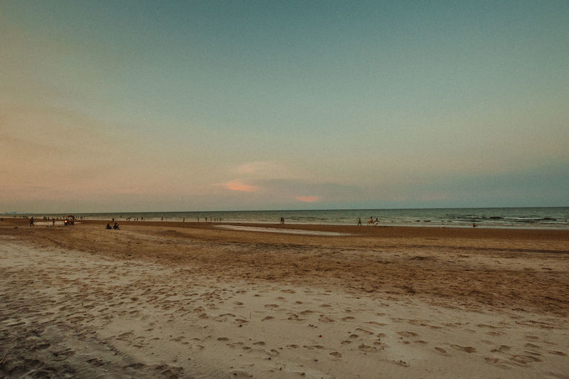 Huahin beach thailand Land Sky Sea Beach Water Horizon Scenics - Nature Sand Horizon Over Water Beauty In Nature Tranquility Tranquil Scene Nature Incidental People Cloud - Sky Holiday Outdoors Travel Sunset