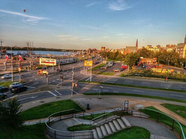 High Angle View Outdoors Day City Sky Contrast Sunshine Viewofthecity Rostock Rostocker Hafen Home Colorful Viewpoint Water River Warnow Background Cars Harbor Hdr Edit EyeEm Best Edits Fragility Freshness Steps Structures