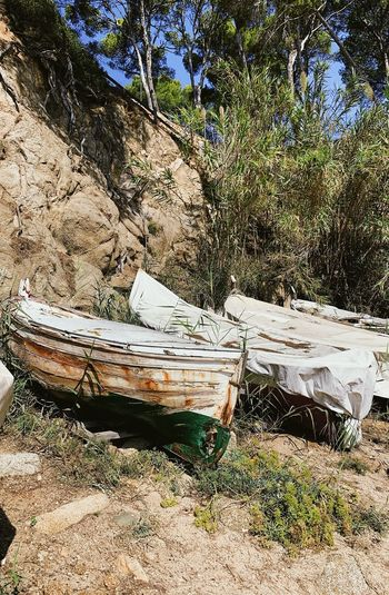 Abandoned boat moored on field