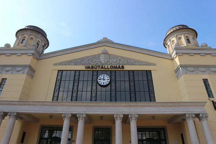 Low Angle View Architecture Built Structure Building Exterior Window Façade Sky Blue History Outdoors Day Historic Arch Spire  City Life High Section No People Railway Station Békéscsaba Hungary