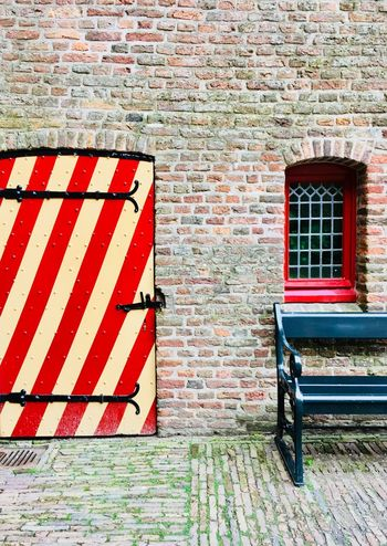 Brick Wall Red No People Outdoors Architecture Day Close-up Colorful Geometric Abstraction Door Bench Red Window Old Castle Become Museum Muiderslot Netherlands