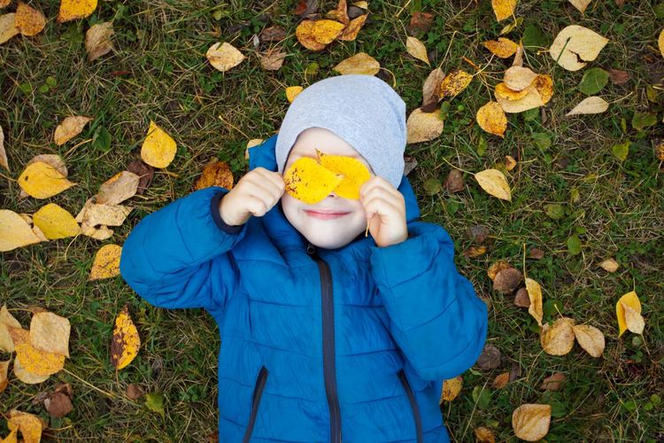 High angle view of boy holding autumn leaves while lying on field