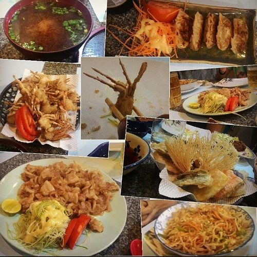 Japanesefood Japanese  Kani_kara_age Gyoza Tempura Yasai_itame Beef_katsu Buta_shoga and Chopsticks Instafood Foodporn Foodoftheday