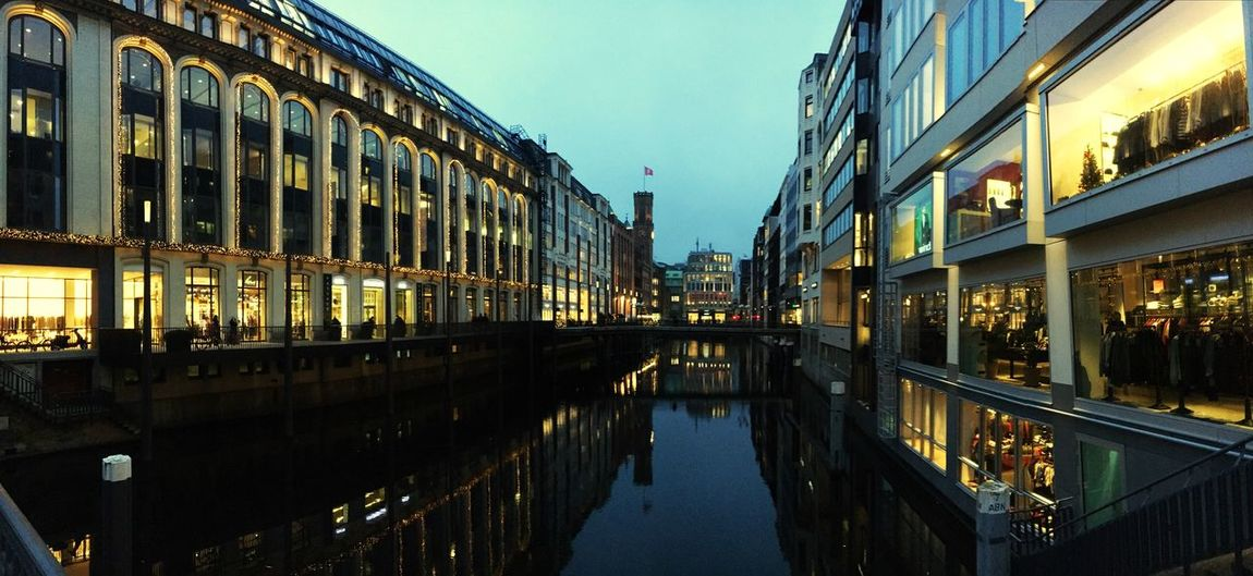 Neuer Wall in Hamburg Sundown Deutschland Germany View Building Exterior Bridge Neuer Wall Hamburg Architecture Building Exterior Built Structure Reflection Window Sky Water Outdoors City Clear Sky Travel Destinations
