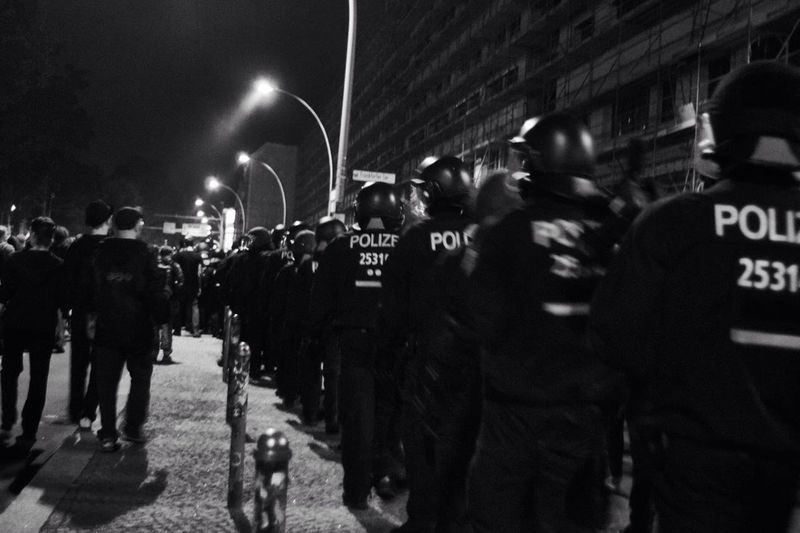 Crowd on street at night