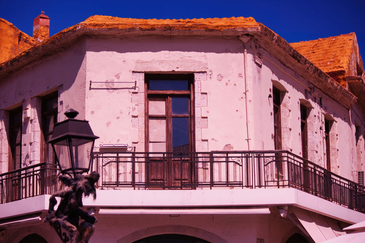 Low angle view of residential building in agios crete in greece, europe