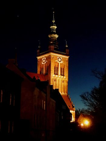 Architecture Building Exterior Night Built Structure Low Angle View Spirituality Religion No People Place Of Worship Sky Illuminated Outdoors Moon Bell Tower EyeEm Gallery Eyeemphotography Fresh On Eyeem  Catedral Church Architecture Church Old Buildings Architecture_collection