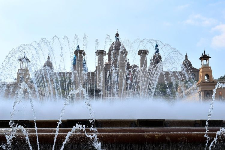 Beauty In Nature Water Motion Fountain Fountain_collection Fountain Show Perspective Montjuic Castle Montjuic Freshness Calm Beauty City Water Spraying Motion Splashing Fountain Speed Sky