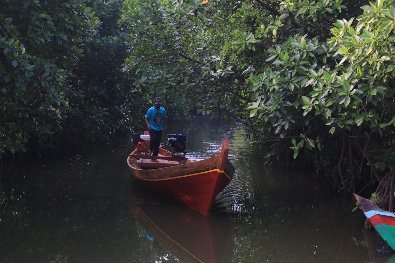 nautical vessel, water, nature, transportation, day, real people, river, full length, one person, outdoors, standing, tree, oar, rowboat, tranquility, plant, women, men, growth, forest, beauty in nature, adventure, rowing, adult, people