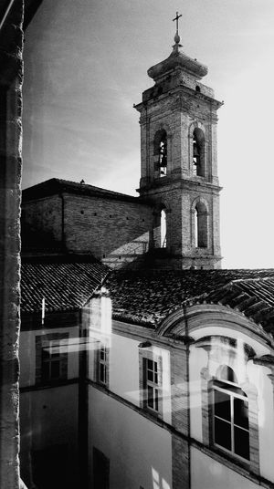 Built Structure Building Exterior Architecture Sky Religion Clock Clock Tower Bell Tower Travel Destinations My Point Of View Architecture Montecosaro Municipal Building Historical Building Old Buildings Light And Shadow Building