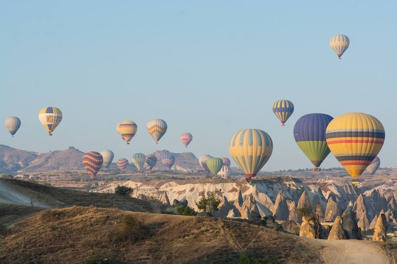 Hot air balloons flying against clear sky on sunny day