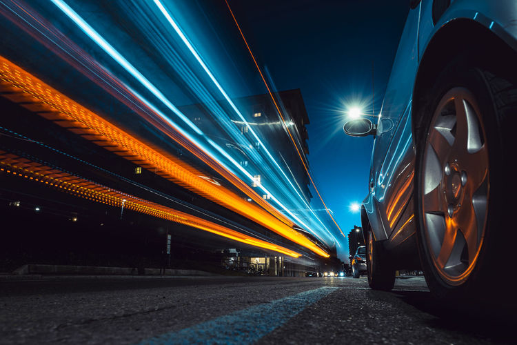 Light trails on road before the night