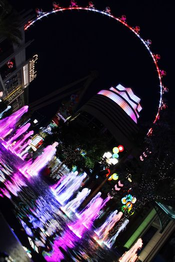 Neon Lights Fountain Ferris Wheel